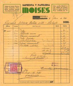 Factura antigua Librería Moisés - Barbastro 001