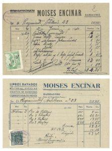 Factura antigua Librería Moisés - Barbastro 003